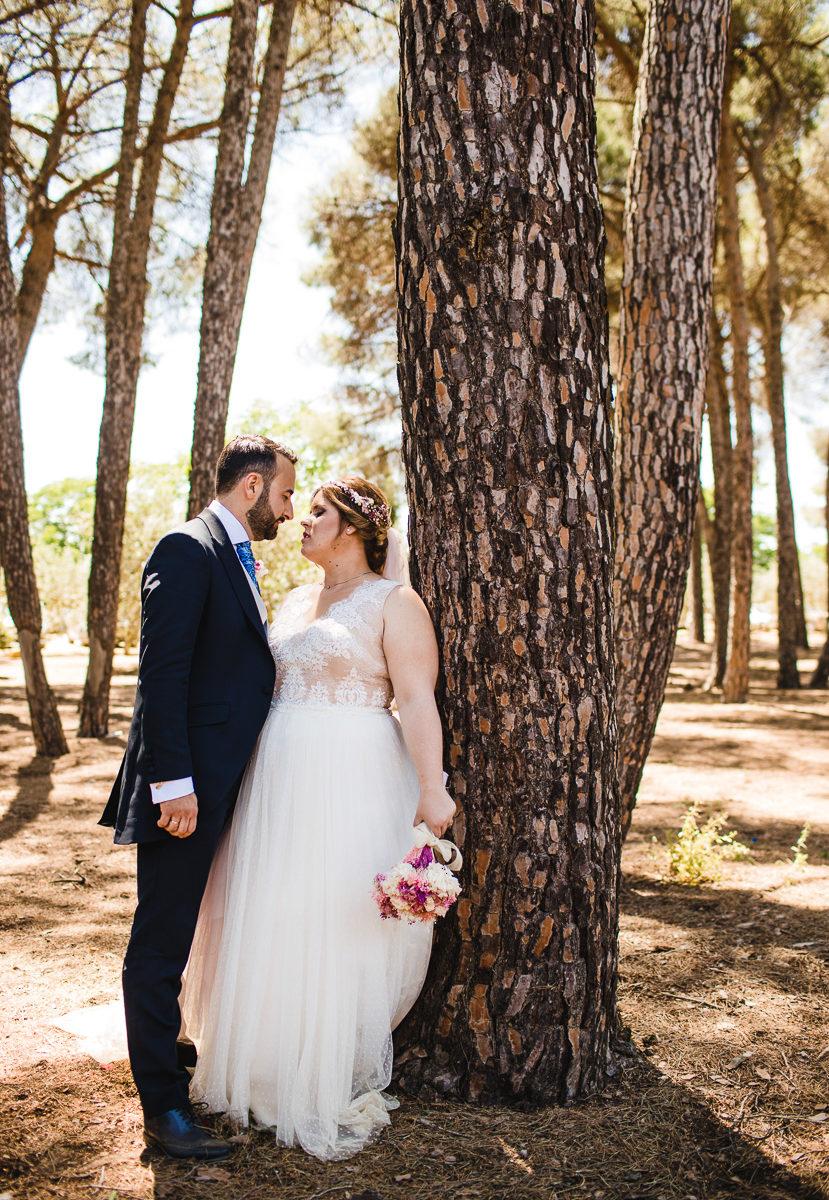 Pareja de recien casados posando en el pinar de manabran en marchena fotografiado por Bodas con Arte